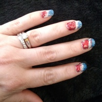 Studio White with blue and red loose glitter