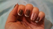 Rubble with Studio White Tips, accent nail Studio White with jewels