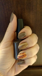 Rubble, Sugared Spice and Piggy Polish glitter accent nail